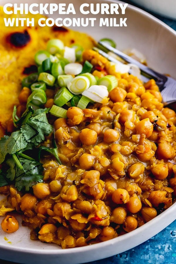 Pinterest image for chickpea curry with text overlay