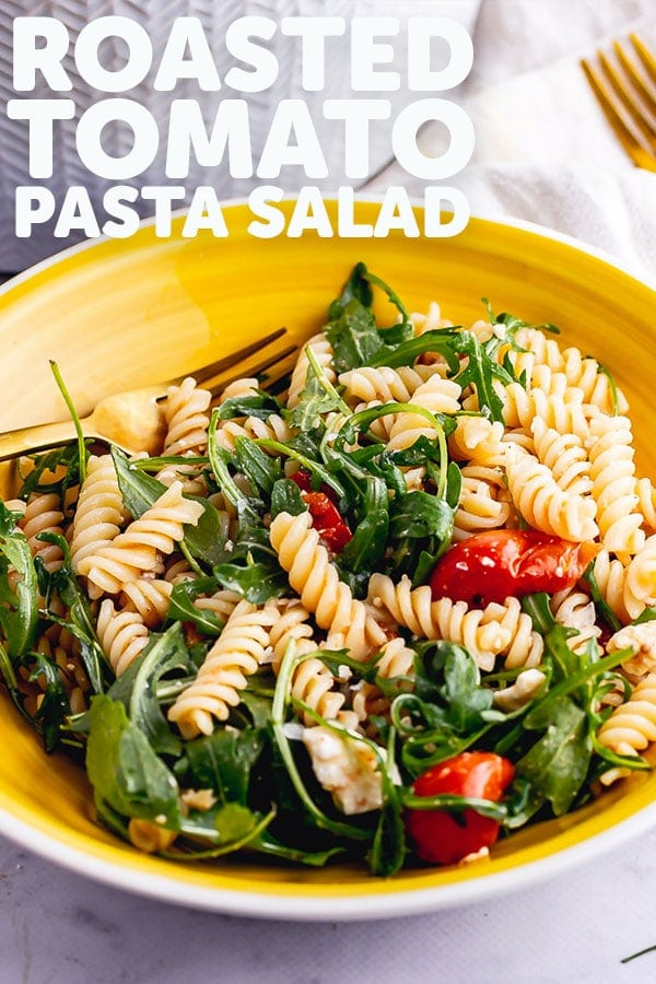 Pinterest image for roasted tomato pasta salad with text overlay