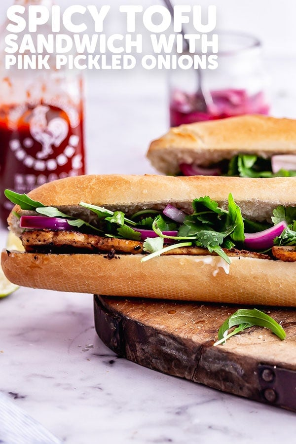 Pinterest image for spicy tofu sandwich with text overlay