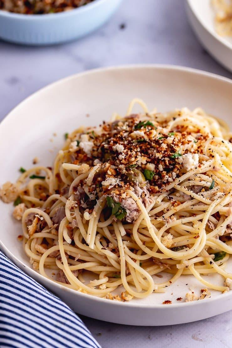Close up of tuna pasta in a white bowl
