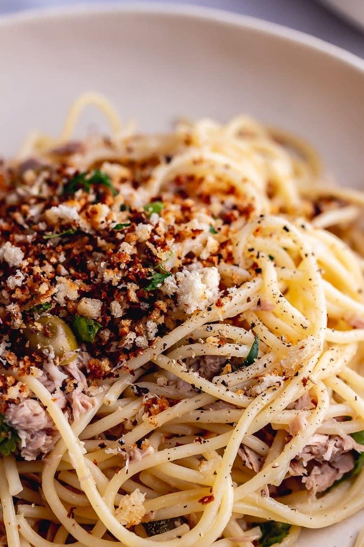 Close up of tuna pasta with pangrattato