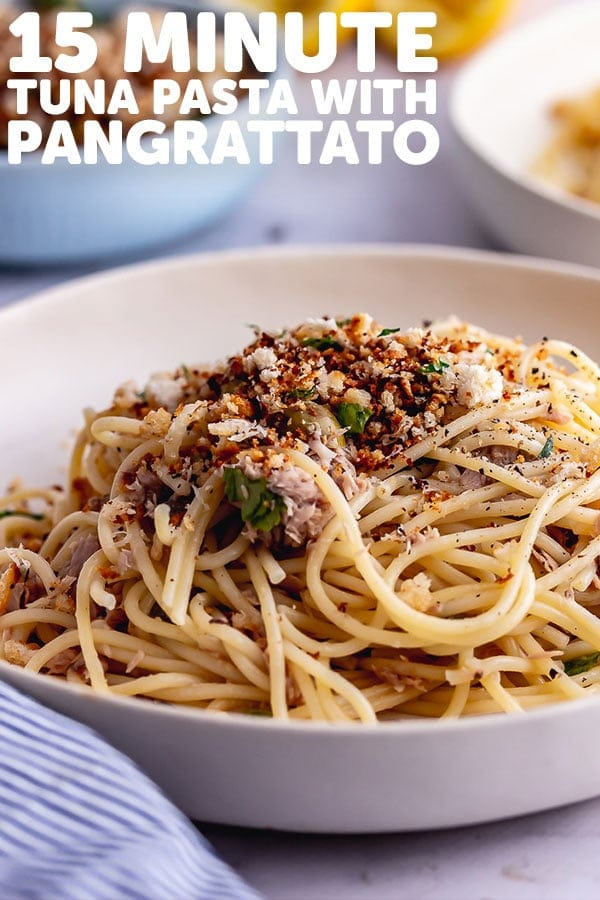 Pinterest image for tuna pasta with text overlay