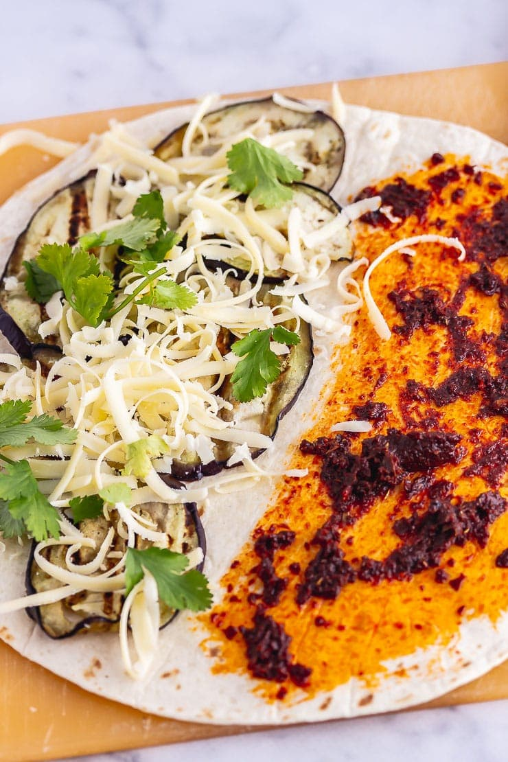 Vegetarian quesadilla with aubergine, cheddar and chipotle paste