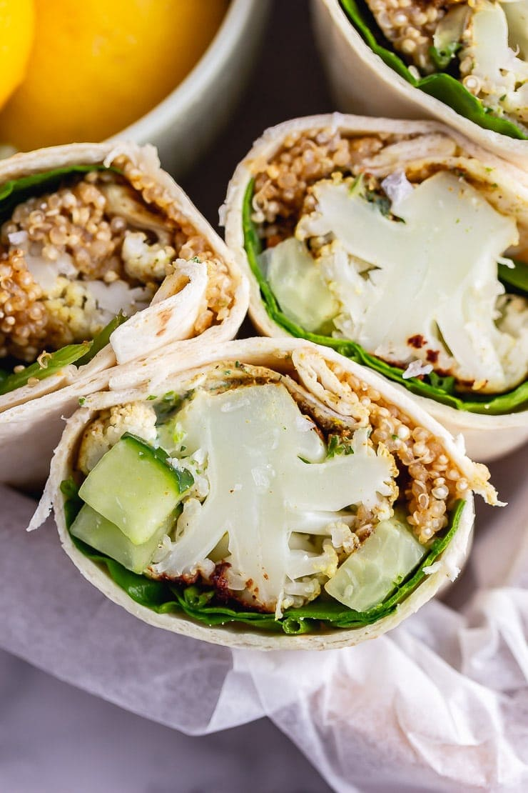 Close up of veggie wrap in paper