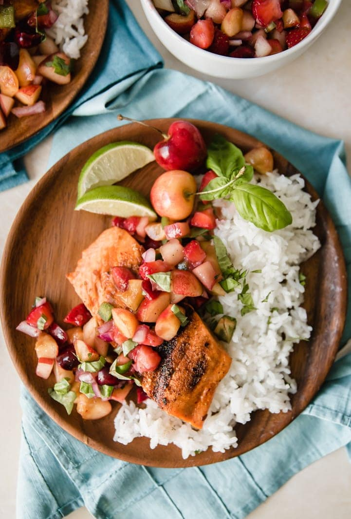 Grilled salmon with stone fruit salsa