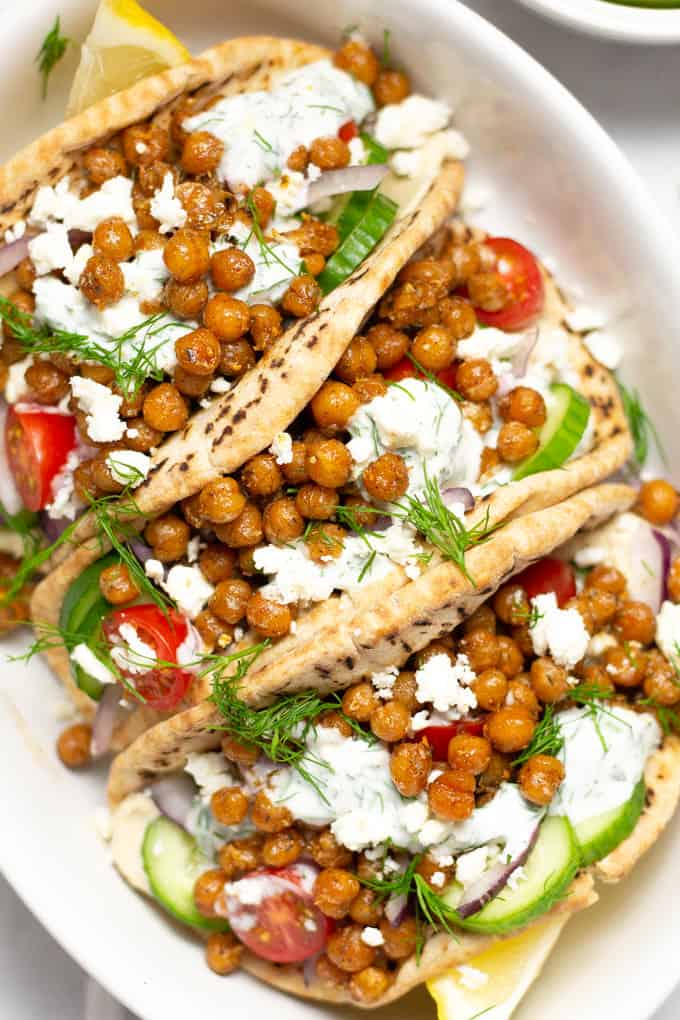 Overhead shot of chickpea gyros