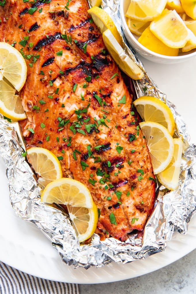 Grilled soy brown sugar salmon