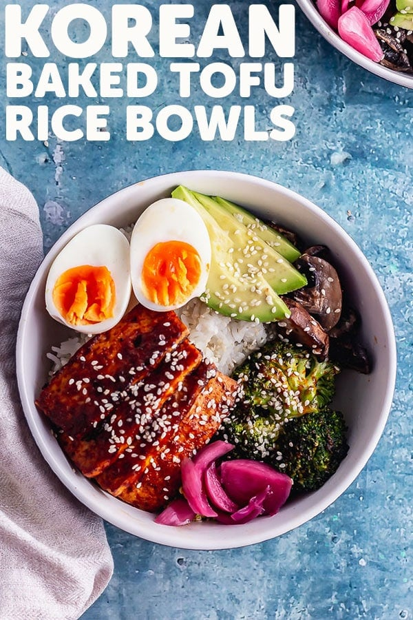 Pinterest image for Korean baked tofu rice bowls with text overlay