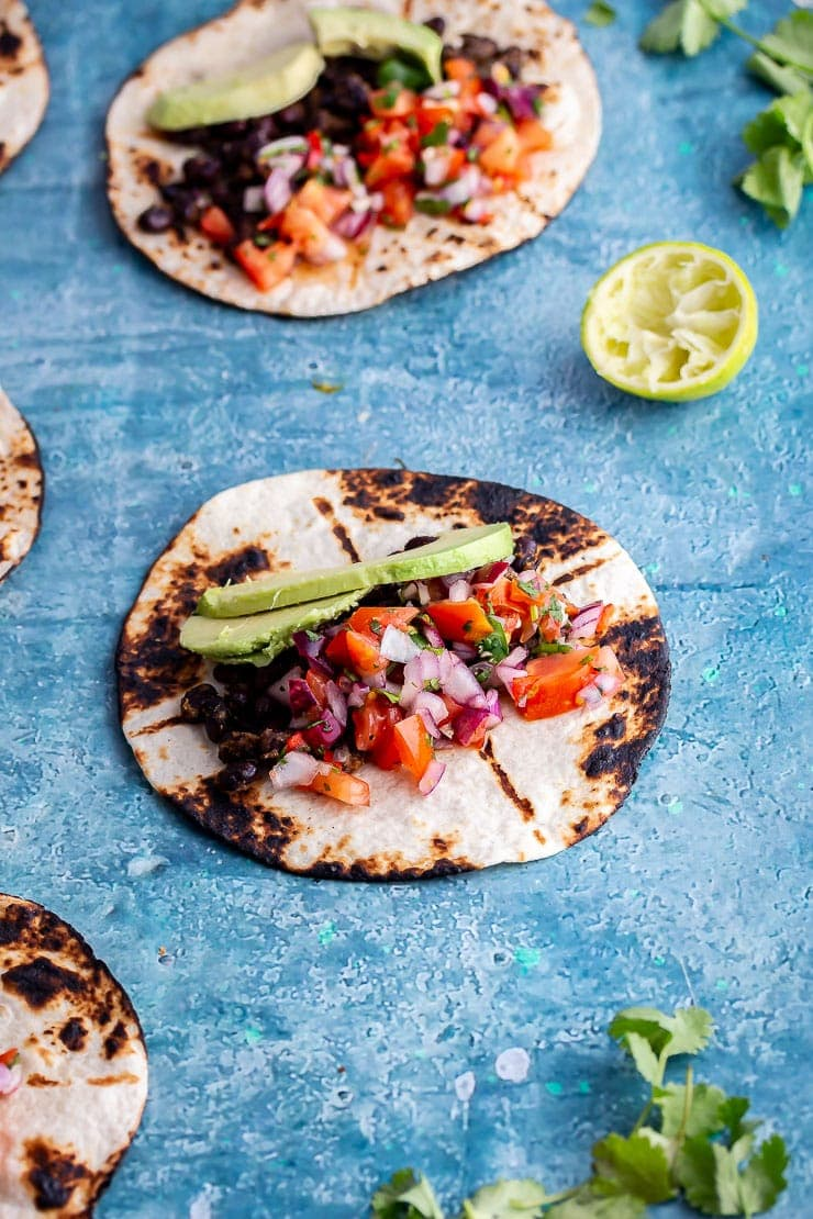 Vegan breakfast tacos with a lime and coriander