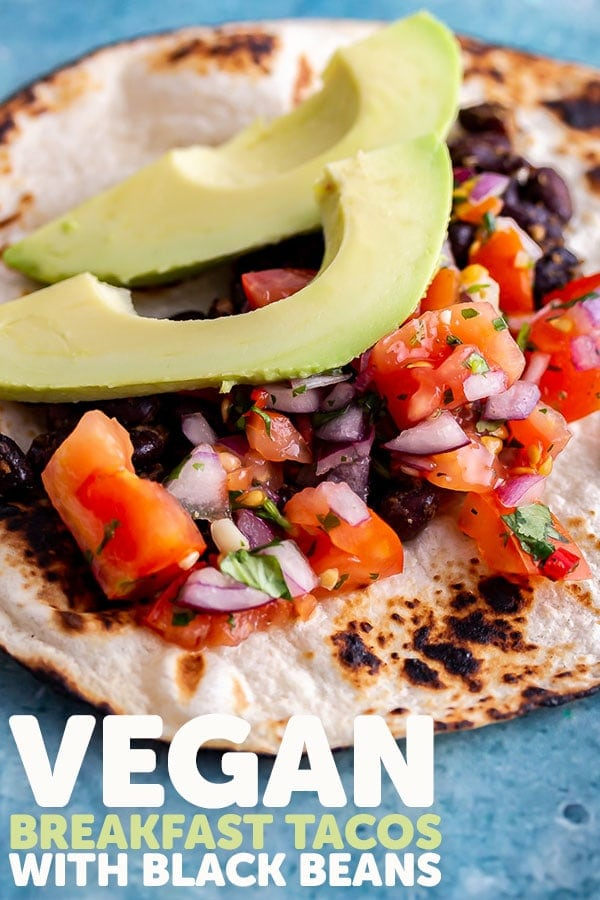Pinterest image for vegan breakfast tacos with text overlay