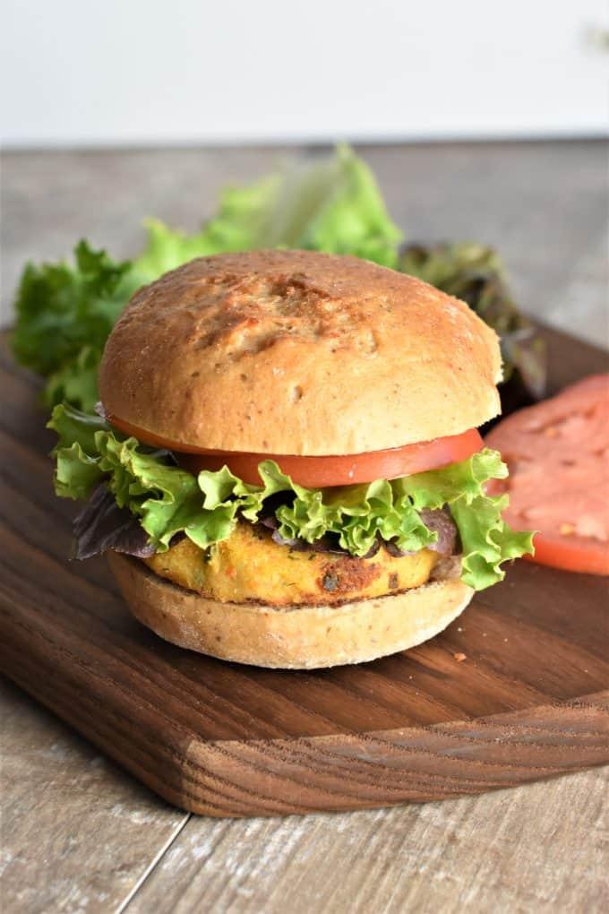 Side on shot of veggie burger