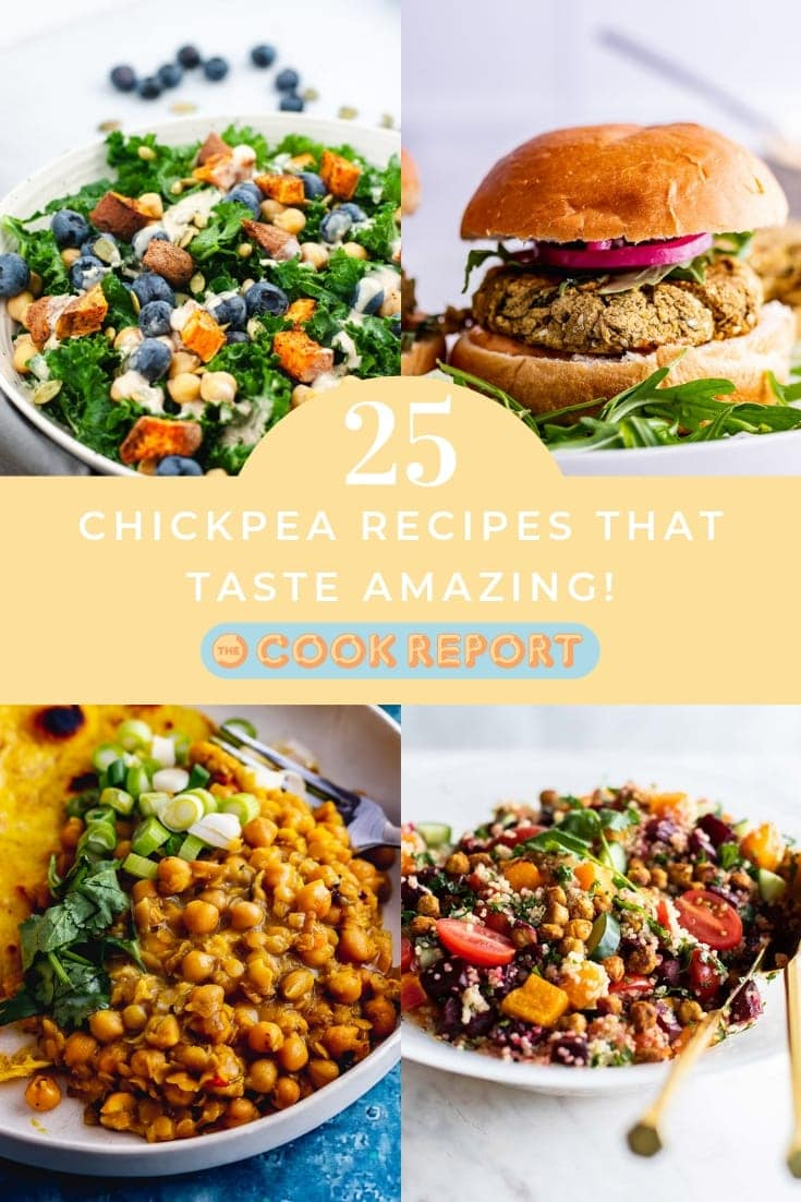 Graphic for chickpea recipes collection with text overlay