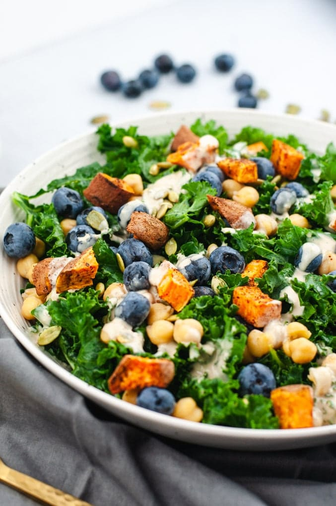 Close up of kale salad with chickpeas