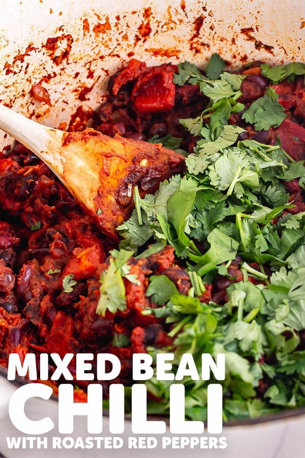 Pinterest image for bean chilli with text overlay