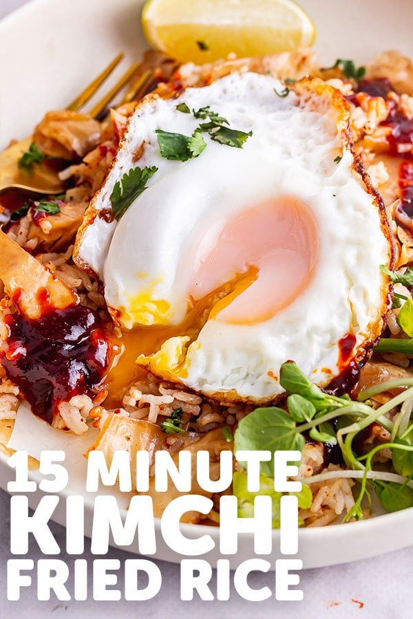 Pinterest image for kimchi fried rice with text overlay