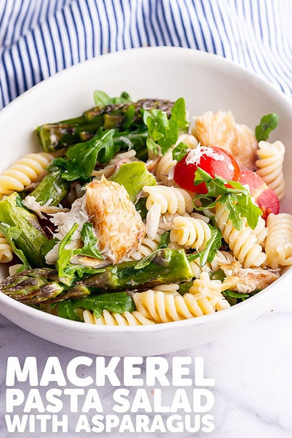 Pinterest image for mackerel pasta salad with text overlay