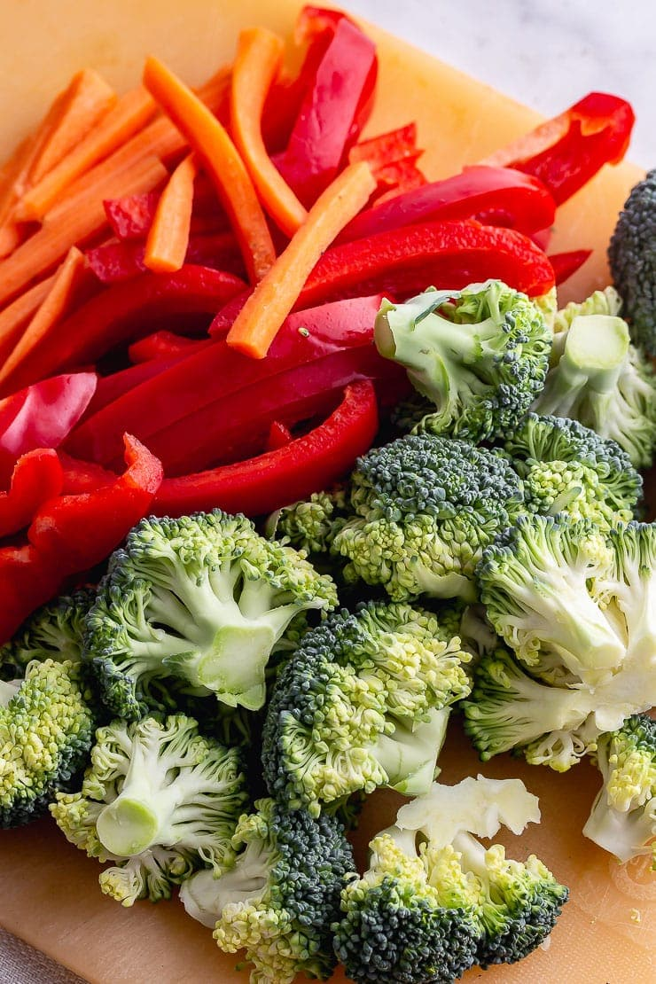 Chopped broccoli, peppers and carrot for noodle salad