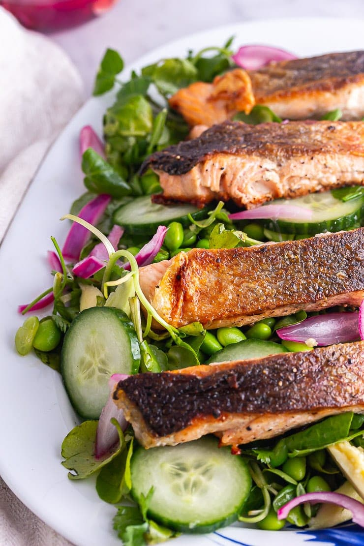 Close up of salmon fillets on a green salad on a platter