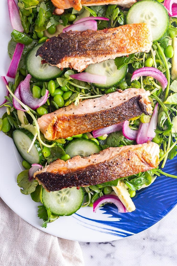 Four salmon fillets on a watercress and cucumber salad on a blue platter