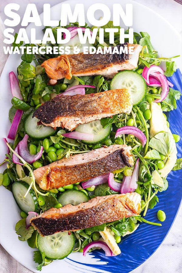 Pinterest image for salmon salad with text overlay