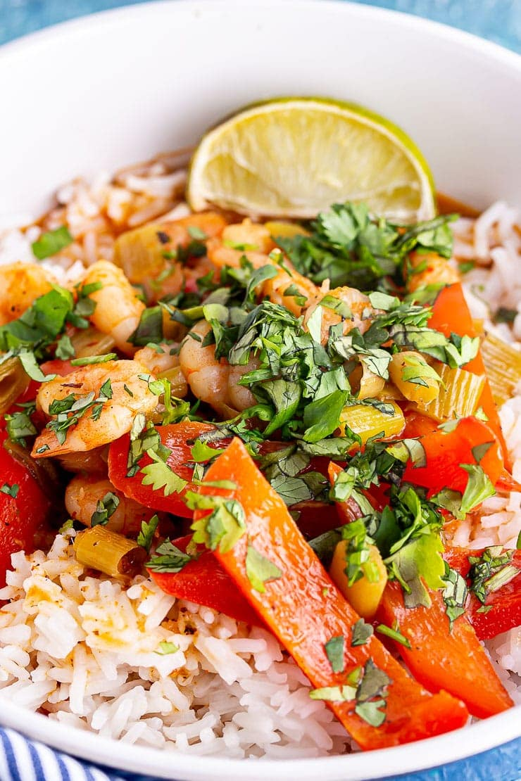 Close up of Thai prawn curry with lime and rice