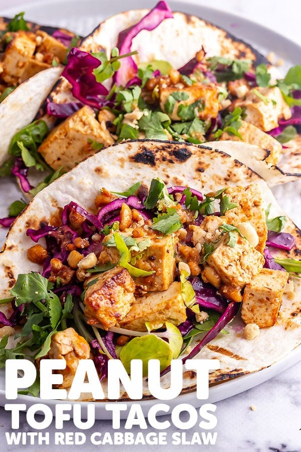 Pinterest image for tofu tacos with text overlay