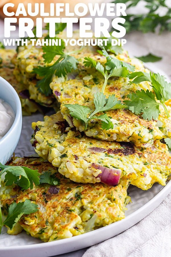 Pinterest image for cauliflower fritters with text overlay
