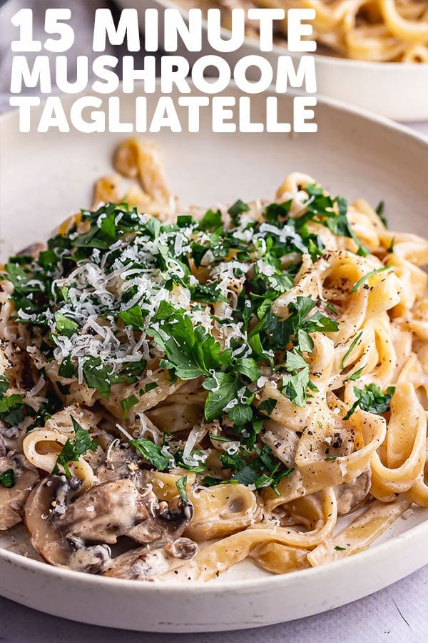 Pinterest image for mushroom tagliatelle with text overlay