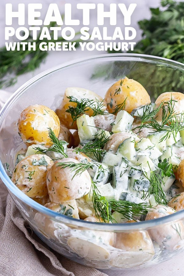 Pinterest image for healthy potato salad with text overlay