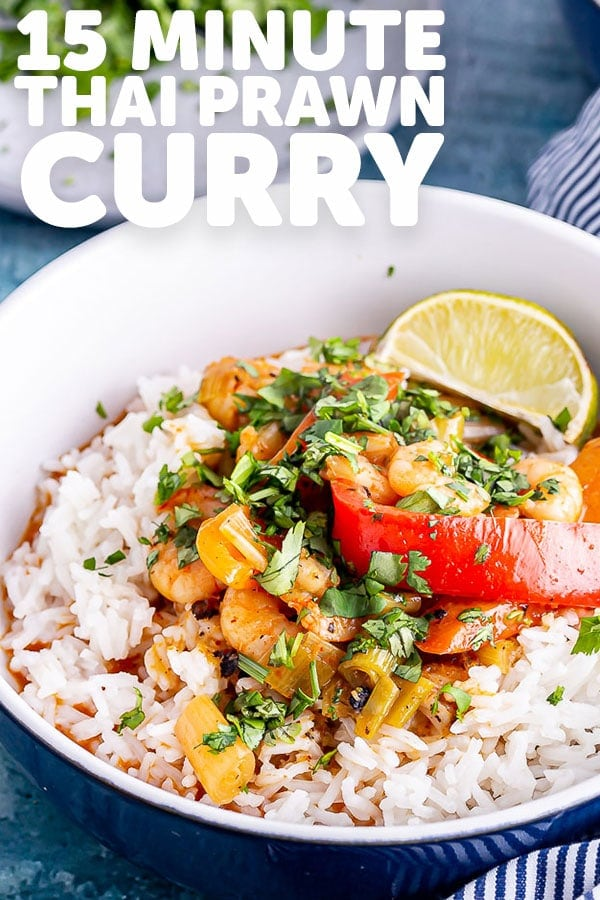 Pinterest image for Thai prawn curry with text overlay