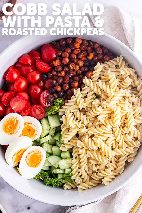 Pinterest image for cobb salad with text overlay