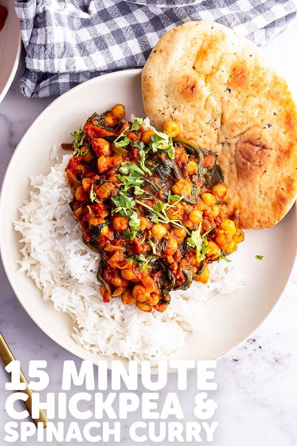 Pinterest image for chickpea and spinach curry with text overlay