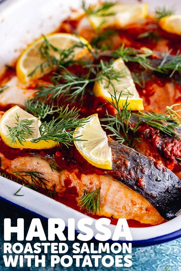 Pinterest image for harissa roasted salmon with text overlay