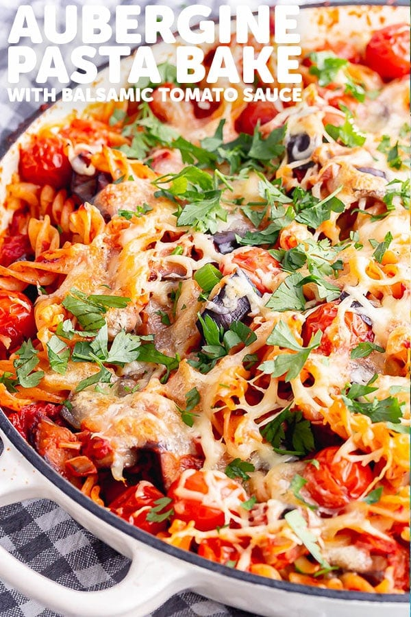 Pinterest image of aubergine pasta bake with text overlay