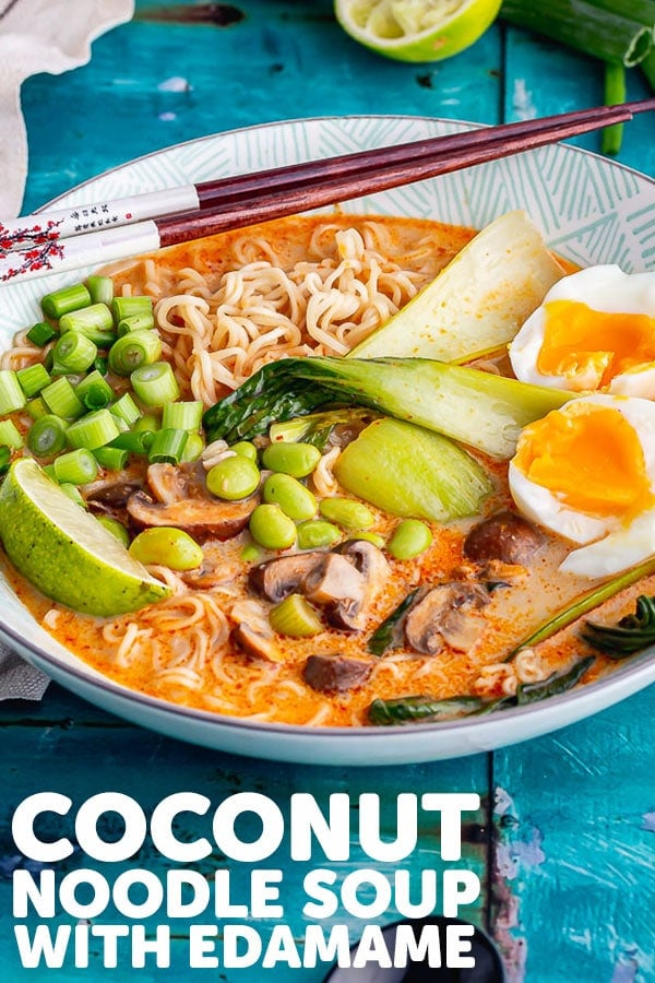 Pinterest image for coconut noodle soup with text overlay