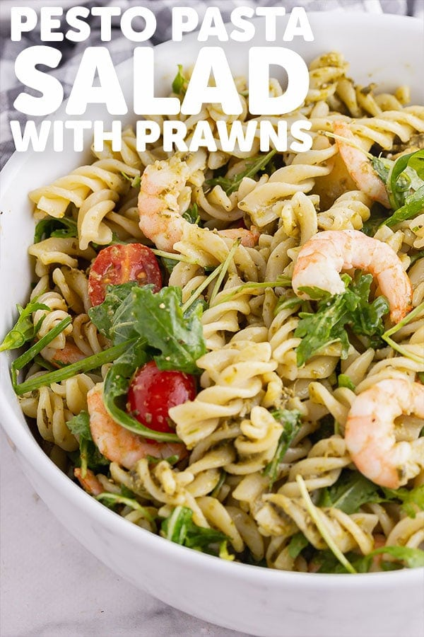 Pinterest image for pesto pasta salad with text overlay