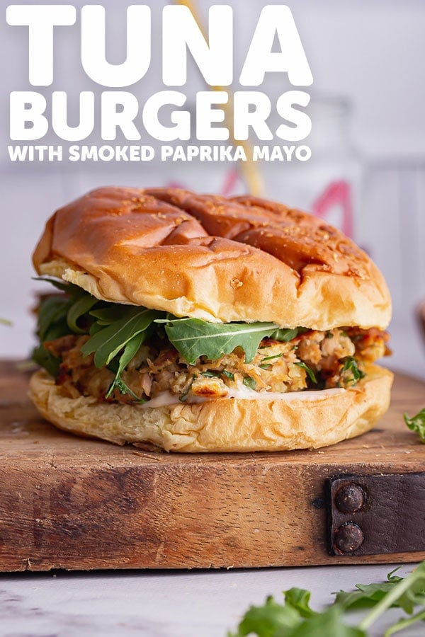 Pinterest image for tuna burgers with text overlay