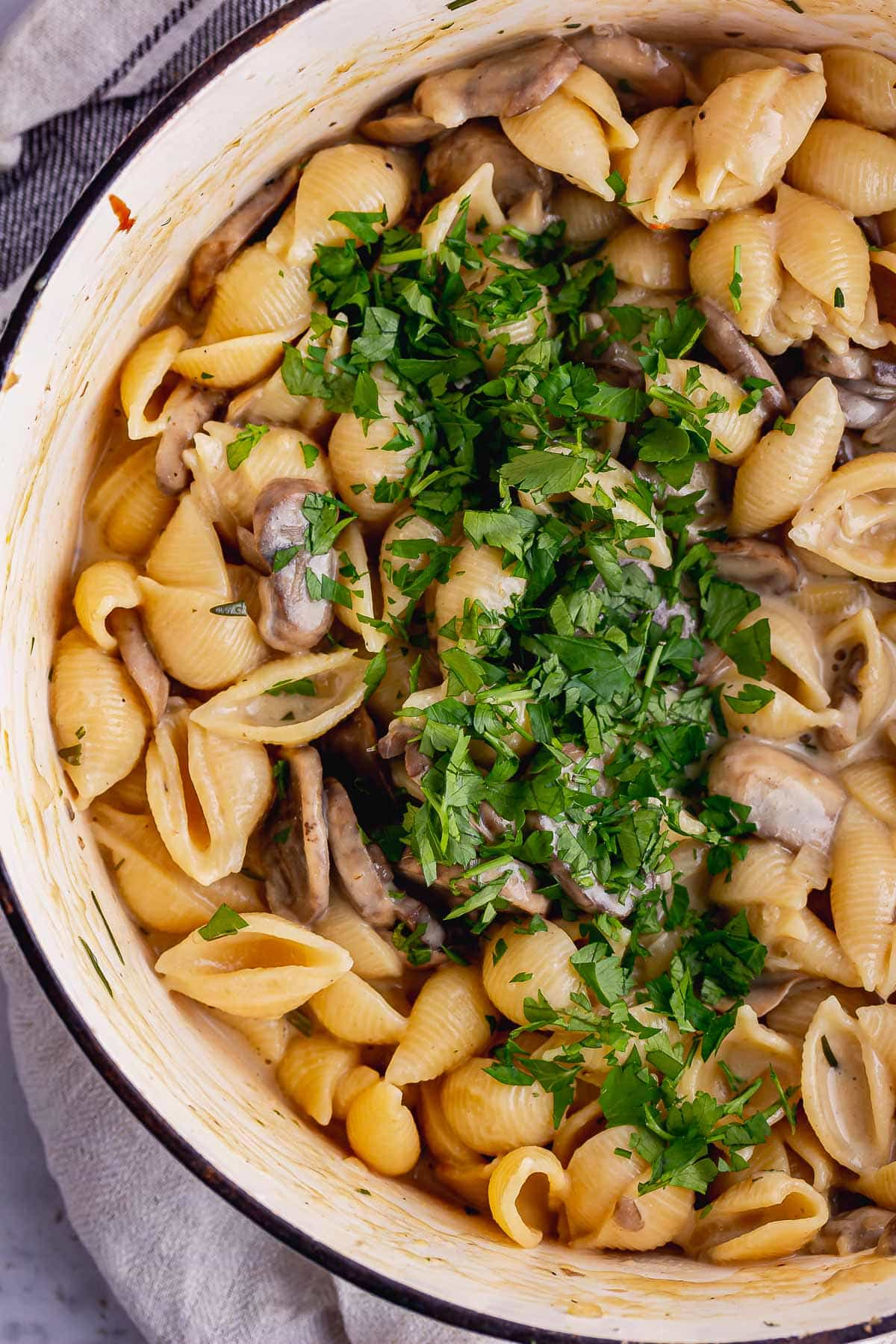Overhead shot of mushroom stroganoff with parsley
