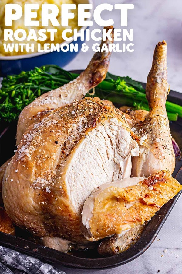 Pinterest image for perfect roast chicken with text overlay