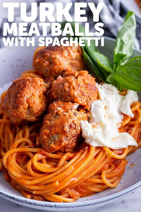 Pinterest image of turkey meatballs with text overlay