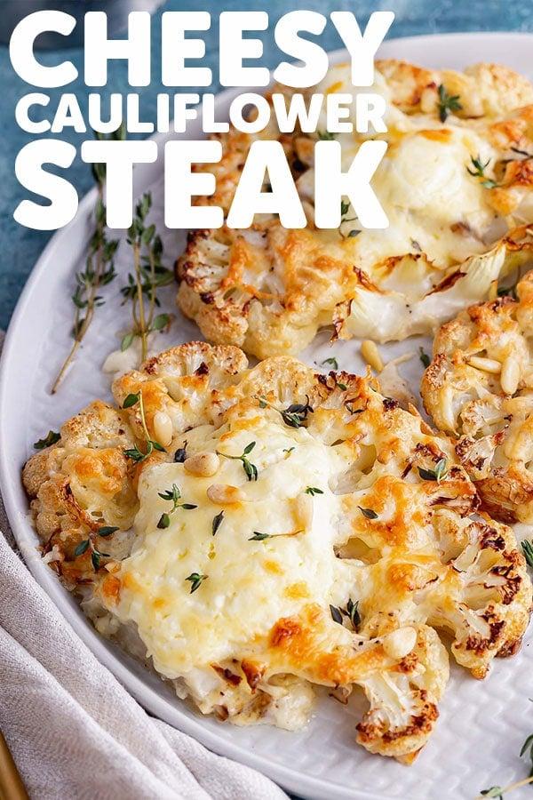 Pinterest image for cauliflower steak with text overlay