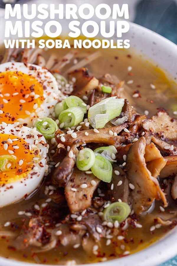Pinterest image for mushroom miso soup with text overlay