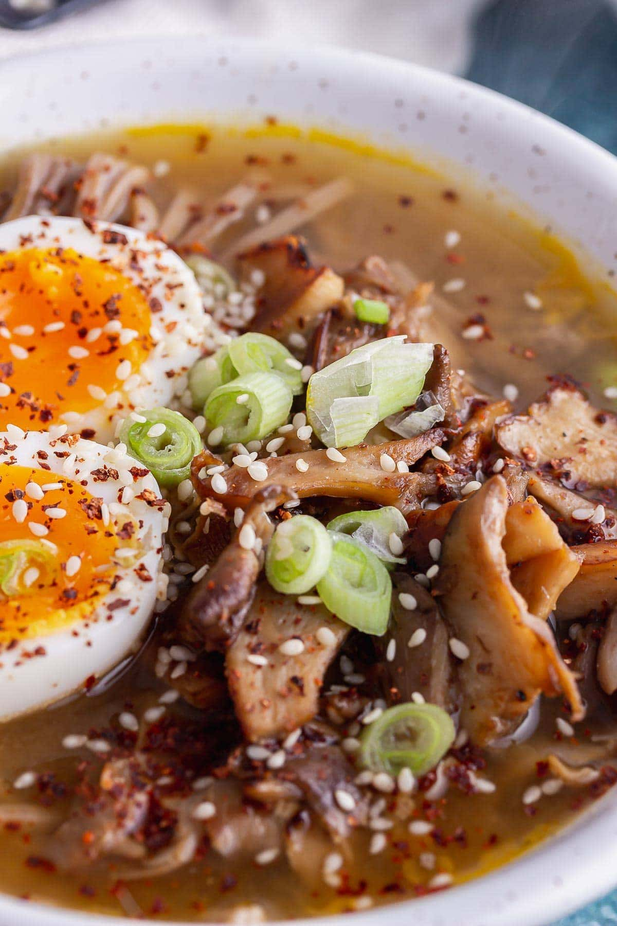 Close up of miso mushrooms with noodle soup