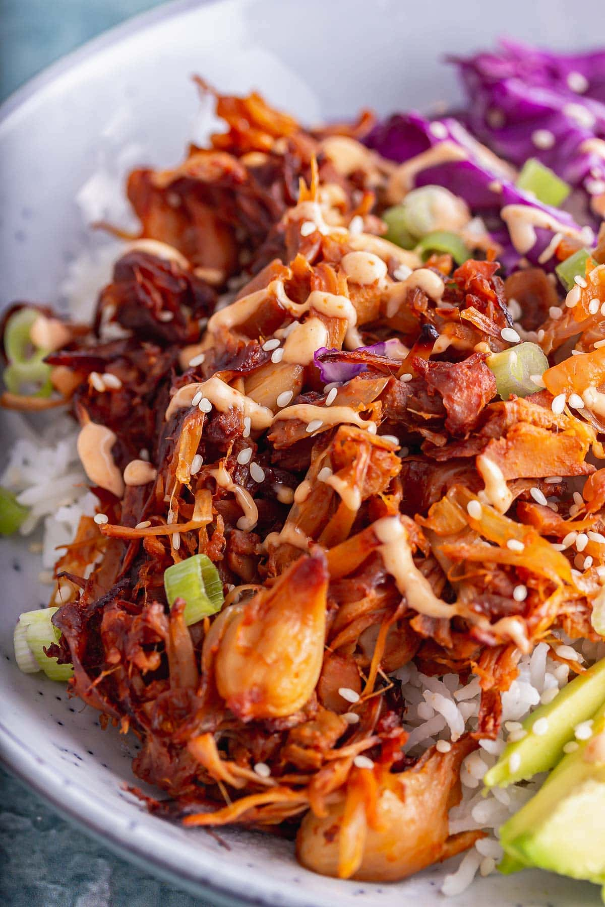 Close up of BBQ pulled jackfruit