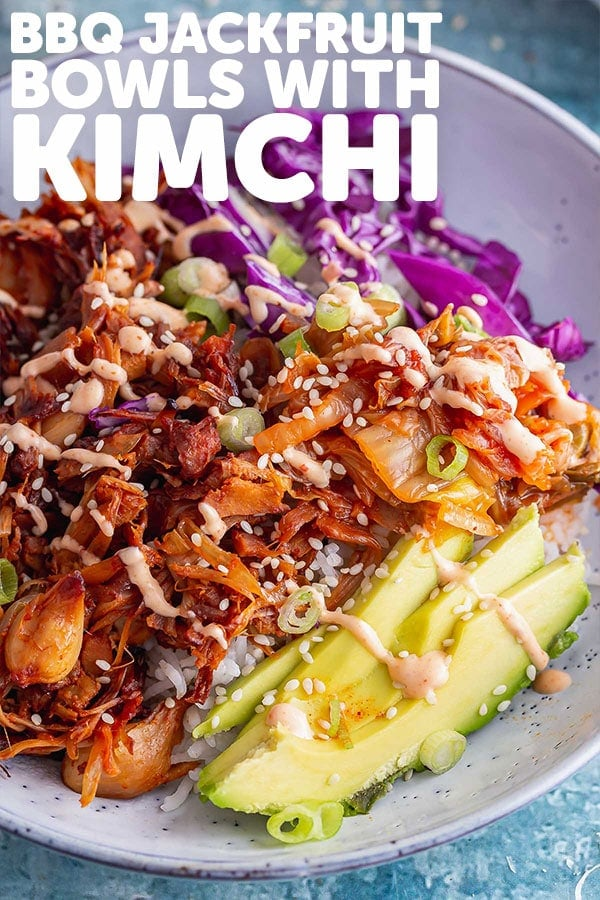 Pinterest image for bbq jackfruit bowls with text overlay