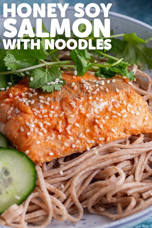 Pinterest image for honey soy salmon with text overlay