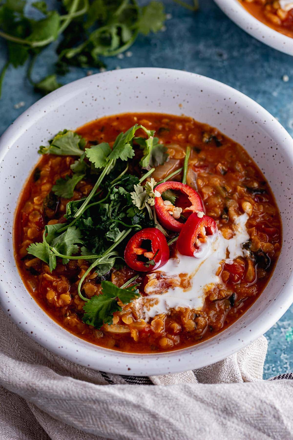 Close up of lentil and chilli soup