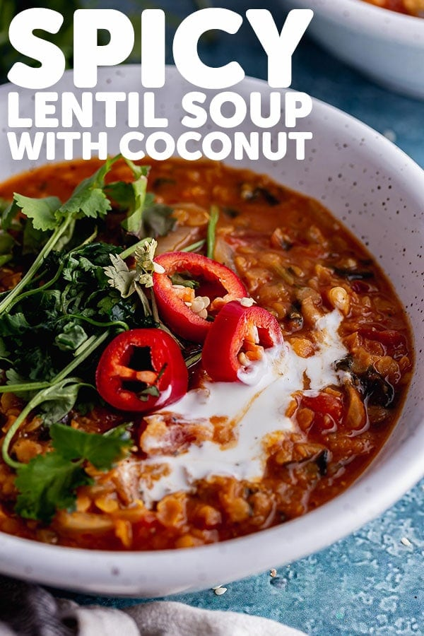 Pinterest image for spicy lentil soup with text overlay