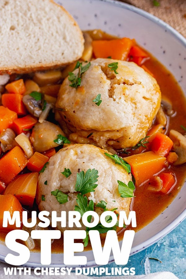 Pinterest image for mushroom stew with text overlay