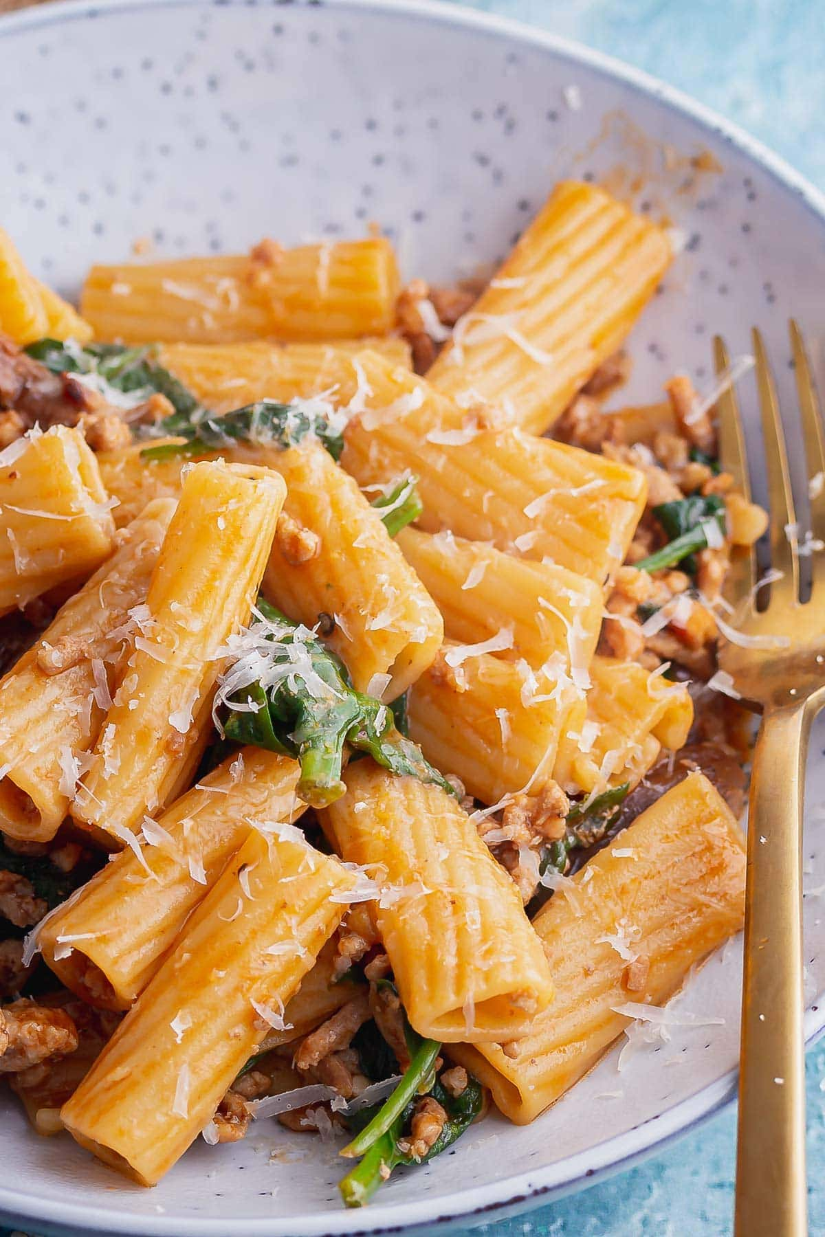 Close up of rigatoni with pork and spinach